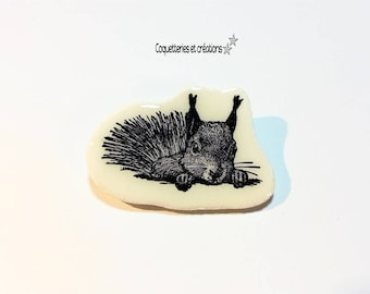 Brooch trend black and white clay (fimo type) squirrel. vintage style. Handmade in France