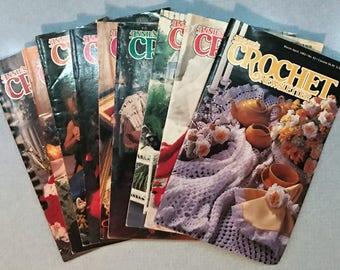 Lot of 9 Vintage Annie's Crochet Newsletter Magazines 1986-1993