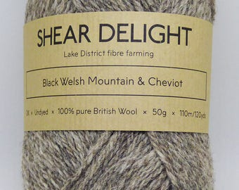 Black Welsh Mountain & Cheviot - Double Knit 100% British Wool