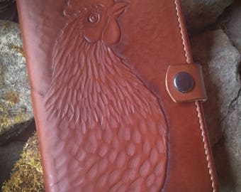 Chicken Journal Cover, Sitting Hen, for 5.5 x 3.5 Notebook, Leather Book Cover for Moleskine or Handmade Book, Tooled Chicken, Hen & Rooster