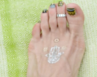 Wide Band Toe Ring Silver Textured Band Stacking Ring Toe Bohemian Jewelry Handmade