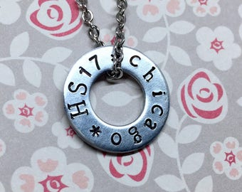 Harry Styles Hand Stamped Custom Tour Washer Necklace Fandom Jewelry Customized With Your Concert City Pendant Necklace Harry Tour
