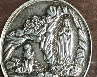 """Our Lady of Lourdes Vintage Silver Religious Medal Pendant by A. LAVEE on 18"""" sterling silver rolo chain"""