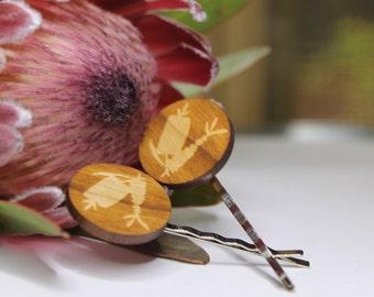 Bottle Brush Flower Bobby Pins-Flower Hair Pins-Flower Bobby Pins-Wood Lasercut-Wildflower Hair Pin-Australian Wildflower-Bottle Brush