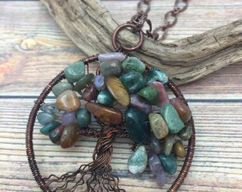 Multi-colored Jasper Gemstone Tree of Life Copper Wire Wrapped Necklace, Free USA Shipping