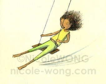 Original ACEO Drawing and Painting -- Swing