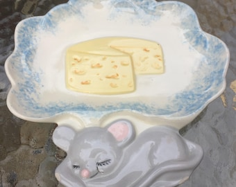 ON SALE Serving Dish Mouse Dreaming of Cheese Wall Plaque 1970s Glazed Ceramic Plaque
