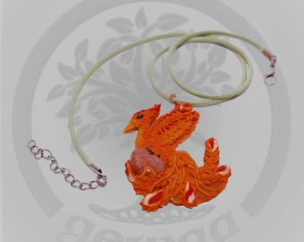 sunstone inbeded polymer clay phoenix pendant and necklace
