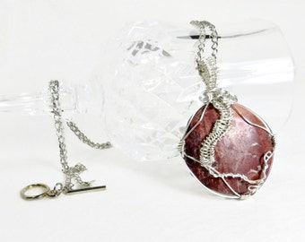 Pink Wire Wrapped Gemstone Pendant and Silver Chain Necklace