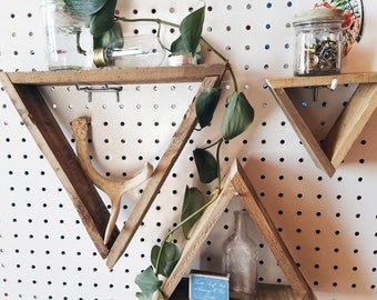 3 Pallet Wood Triangle Shelves / pallet wood shelf, geometric shelf, triangle shelf, pallet wood art, reclaimed wood shelf, pallet art