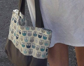 bag fabric canvas OWL bag with zipper bag cotton bag with zipper Tote racing blue grey OWL print tote bag