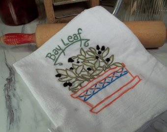 Dishtowel Embroidery Herbs Flour Sack hand towel cotton