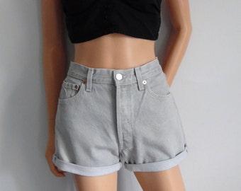 High waisted shorts, Levis 501, light grey distressed denim, cuffed rolled, hotpants, waist 29, medium