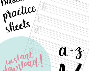 LETTERING PRACTICE SHEETS | Handlettering Practice - Learn to Letter - Modern Calligraphy - Brush Lettering Tutorial - Instant Download