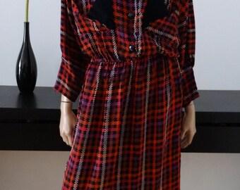 Vintage 80s houndstooth Black/Pink/Purple dress size M/L