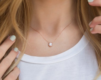 Rose Gold Solitaire Necklace, Rose Gold Layering Necklace, Minimalist Rose Gold Necklace, Rose Gold Dainty Necklace, Cubic Zirconia, N267-RG