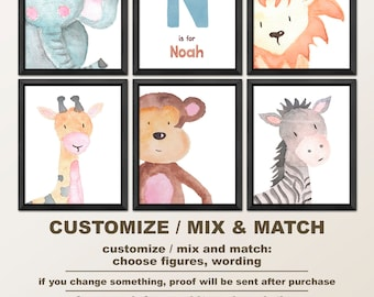 safari nursery prints, safari baby animals, personalized nursery animal art, watercolor animal prints, jungle nursery, safari boy nursery