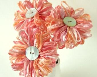 3 Peach Melba Ribbon Flowers, handmade bouquet, wedding decor