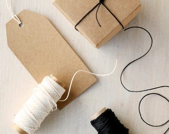 Black or Ivory Cotton/ Linen Twine | Fine String for Craft & Gift Wrap