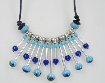 Handmade Glass Lampwork Headpin Necklace with Earrings   Blue Skies