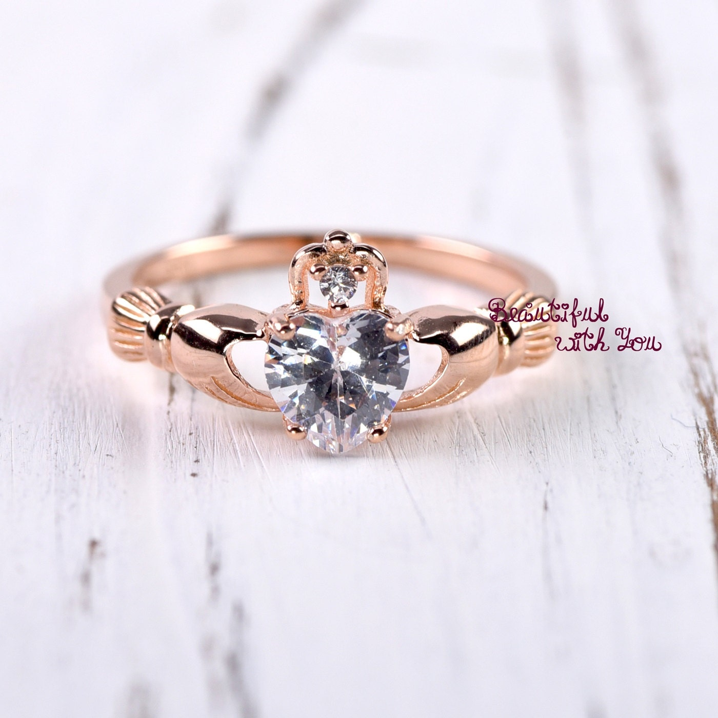 Claddagh Ring Rose Gold Claddagh Ring Womens Sterling Silver