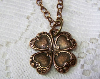 Antiqued Copper CLOVER Necklace, Lucky Charm, Irish jewelry, four leaf clover, LUCKY SHAMROCK pendant