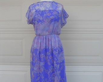 SALE Vintage 70s Purple Print Chiffon Maxi Dress w/Tulip Sleeves
