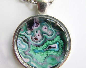 Swirling AGATE GEODE Necklace -- Natural earth art, Geology Art, Friendship token, Shades of blue, green and turquoise
