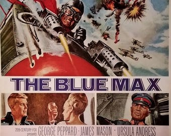 Movie Poster Illustrated 'The Blue Max' George Peppard Ursula Andress WWI Fighter Pilot Ace Drama Germany 1966 War Movie Air Battles 13x10