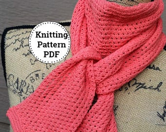 Knitting Pattern   Knit Scarf Pattern   Knitted Scarf Pattern   Knit Scarf   Knitted Scarf  Womens Knit Scarf   Scarf Pattern