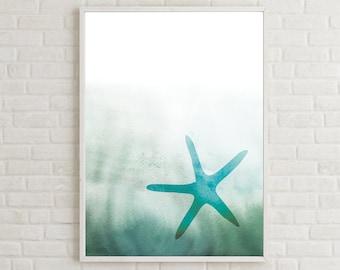 Printable Starfish, Abstract Coastal Art, Aquamarine Wall Art, Aquatic Life Print, Ocean Coastal Art, Coastal Art Decor, Beach Printable Art