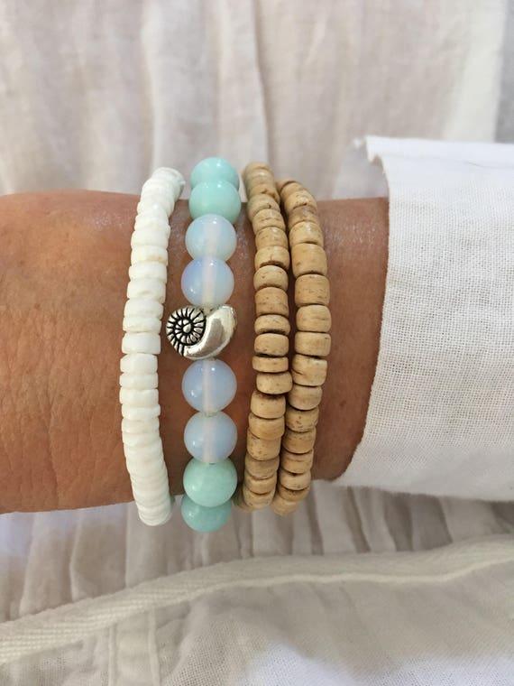 beach bracelet stack, mermaid boho jewelry, gift for her