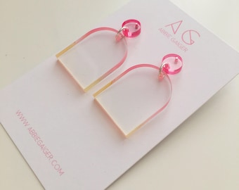Ombre Pink and Yellow Rounded Dangle Stud Earrings  - Bold Laser Cut Hand Dyed Dip Dyed Gradient Acrylic Perspex Geometric Earrings