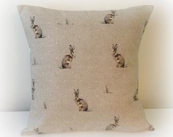 "Handmade Hartley Hare Cushion Cover 16""  Cotton Pillow Rabbit"