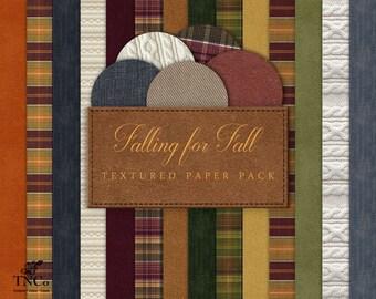 Fall Digital Paper - Digital Scrapbook Paper - Plaid Digital Paper - Commercial Use Digital Paper - Autumn Digital Paper - Green Paper - MK