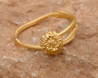 Acorn ring Woodland Jewelry Gold Acorn Ring Twig Ring Adjustable Ring Nature Ring