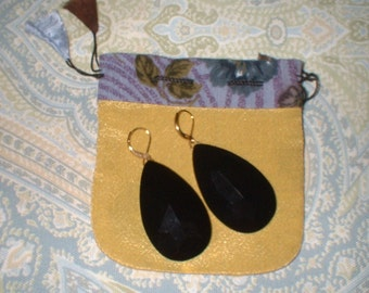"Vintage LARGE Black Glass Faceted Dangle Earrings MINT 2.25 "" long"