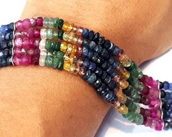 High grade faceted sapphire tourmaline ruby emerald multi strand Silver bracelet