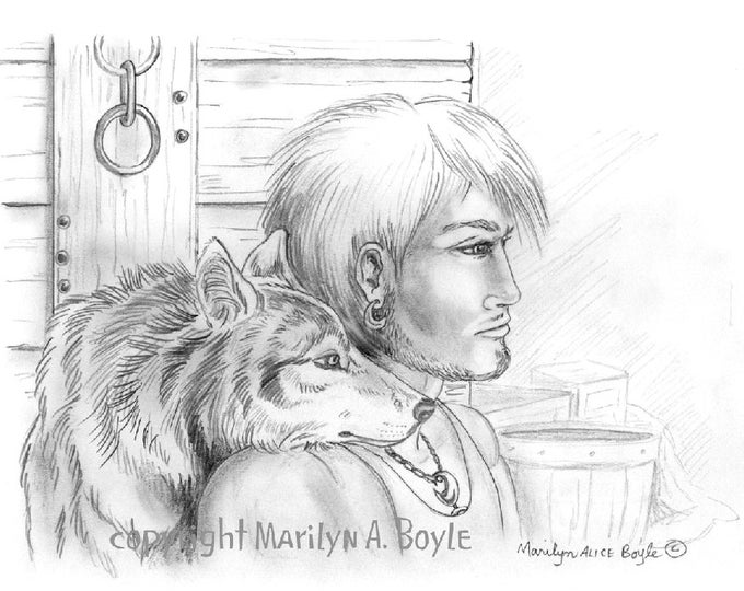 PRINT -DRAWING - FANTASY: graphite, Warrior, wolf, wall art, wildlife, wolf brothers, pencil print, 8 1/2 x 11 inches,