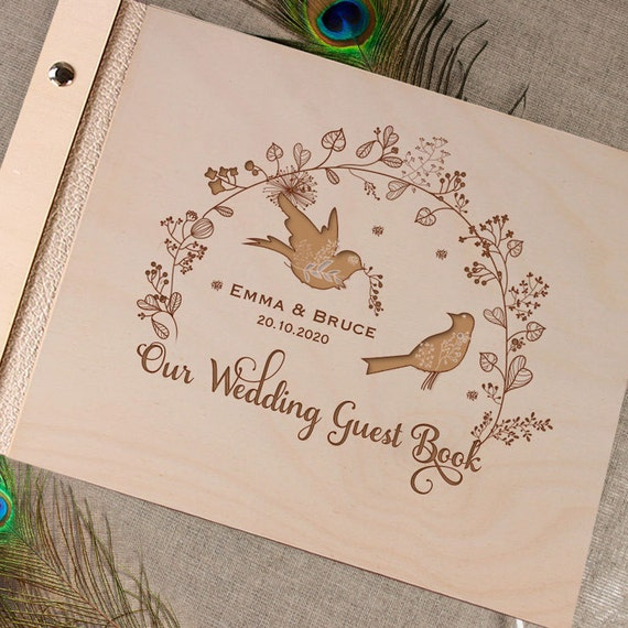 Wedding Guest Book Cover Ideas : Unique personalised wooden wedding guest book alternative
