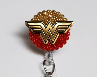 Wonder Woman Logo In Red ID Badge Reel - Retractable ID Badge Holder - Zipperedheart