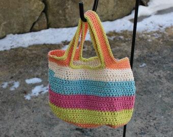 Small Crochet Bag, Cotton Blend Tote