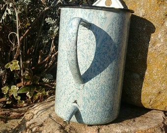 Pitcher glazed antique french /vintage French/fountain water french enamelware/enamel / shabby chic /Garden.