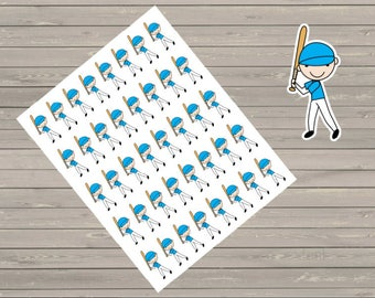 40 Baseball Players Planner Stickers Fits Erin Condren Planner, Plum Paper, Happy Planner