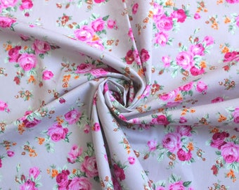 pink roses quilting fabric, pink and grey quilting cotton fabric, pink and gray floral craft cotton, UK quilt supplies, sewing shop