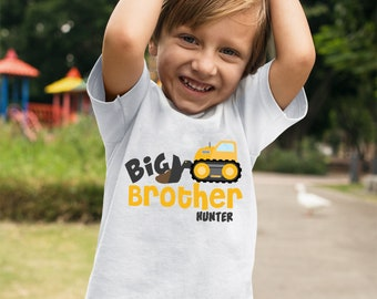 Big Brother Shirt, Big Brother tshirt, Personalized Construction Truck Shirt, Big Brother Announcement, Big Brother Gift