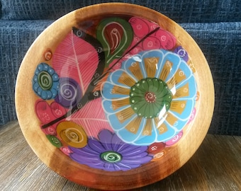 """8"""" Hand Painted Mexican wooden bowl, Salad bowl, Teacher Appreciation Gift, Home décor, Mother's gift"""