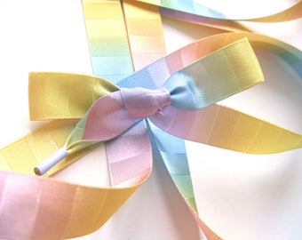 "THE SHOELACES SHOP-Pastel Rainbow Satin Ribbon Shoelaces, Ribbon Shoe Laces, Rainbow Shoelaces, Satin Shoelaces, Colorful, ""Unicorn"""