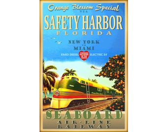 Safety Harbor Florida Orange Blossom Special Train Art Poster Seaboard Air Line Railway New York Miami EMD E4 Diesel -in 4 sizes- Print 284