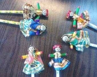 6 set puppet pair Indian handmade handicraft puppet pencil topper, cotton puppet head pencil cozy